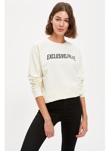 DeFacto Yazı Baskılı Oversize Sweatshirt Bej